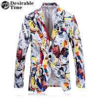 Wholesale Colorful Blazers - Wholesale- Colorful Printed Blazers for Men 2017 Fashion Brand Clothing Slim Fit Mens Prom Stage Wear Blazers Jacket DT549