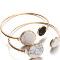 Wholesale bracelet energy cuff for sale - New Fashion Gold Tone Round Black White Turquoise Marbleized Stone Charm Cuff Bangle Adjustable Bracelets for Women Energy bracelets