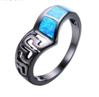 Carino gioielli donna uomo Ocean Blue Fire Opal Anello Black Gold Filled Wedding Party Hollow Pattern Ring Best Friend Gift