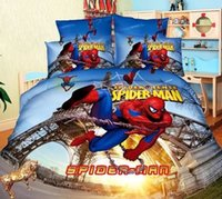 Wholesale Duvet White - Wholesale- Cartoon Children Spiderman Twin Single Bedding 4pcs Cool New Design Bedlinens for Boys Duvet Cover set Leaning Tower of Heroes