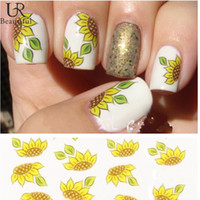 Wholesale Nail Stickers Sunflowers - Wholesale- 1 sheet Yellow Sunflower Design Fashion New style Water Transfer Stickers DIY Nail Art Decorations Nail Decal Nail Tools #BLE852