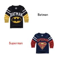 Wholesale Superhero Boys Shirts - Kids Superhero T-shirt Batman Superman Long Sleeves Cotton T shirt 2-8T Boys Girls Casual Tops Cosplay MD090