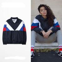 Wholesale Men Vest Outwear - Jacket Men Gosha Rubchinskiy Classic Navy Tricolor Sporting Long Sleeve Windbreaker Jackets Hiphop Skateboards Couples Outwear