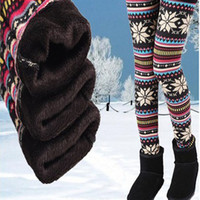 Wholesale Thermal Warm Tights - Womens Autumn Winter Leggings Snowflake Elk Printed Stretchy Fleece Lining Warm Thermal Tights Pants Cashmere Christmas leggings Plu Size QT