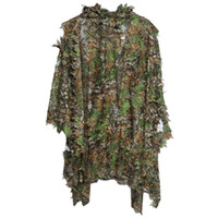 Wholesale Ghillie Suit Camo - Hunting Ghillie Suit Set 3D Camo Bionic Leaf Camouflage Jungle Woodland Birdwatching Poncho Manteau Durable Hunting Clothing +B