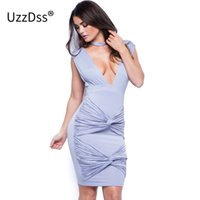 Sexy Club Dress Women Fashion Nova chegada Deep V Neck Ruched Tie Knot Backless Cap Sleeve Verão Casual Cocktail Party Dress