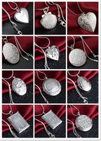 Wholesale Ellipse Necklace - Mix 15 styles 15pcs plating 925 silver plated heart and cross circular love heart Ellipse square pendant necklace photo Locket