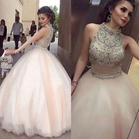 Wholesale Collar Neck Prom Dresses - Two Piece Prom Dresses High Neck Beaded Collar A Line Sleeveless 2017 Pageant Evening Gowns College Homecoming Party Queen Dress Sexy