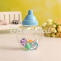 Оптовый-12X синий / розовый прозрачный Heart Shape Baby Shower Candy Bottle Baptism Christening Birthday Gift Favours Candy Box Bottle Party Favors