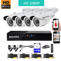 Wholesale Dvr Drive 1tb - Eyedea 8 CH 1080P Remote View DVR Video Surveillance Recorder 2.0MP Outdoor LED Night Vision Home CCTV Security Camera System 1TB Hard drive