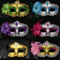 tatil maskeli maskeleri toptan satış-Moda Lady Seksi maske Yortusu Venedik göz maskesi masquerade maskeleri ile çiçek tüy Paskalya dans parti tatil maske damla nakliye