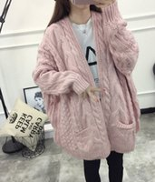 Wholesale Thick Wool Cardigan Girl - Wholesale- Hot sale 2016 new winter women's coat thick twistsweater korean Girls long section long-sleeved knit cardigan
