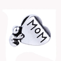 Wholesale I Love Mum - Mother's Day gift I love Mom Alloy Loose Beads letter Mum Beads Love jewelry Mother birthday present