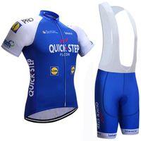 Wholesale Quick Step Bib - 2017 QUICK STEP Pro TEAM BLUE Short Sleeve Cycling Jersey Bike Bicycle Wear With (bib) Shorts Size XS-4XL