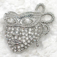 Wholesale Mask Brooches - Wholesale Brooch Rhinestone Mask Pin brooches costume jewelry gift C101575