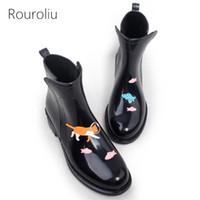 Wholesale pink rain boots women - Hot Sale Women New Fashion PVC Rain Boots Female Waterproof Ankle Rainboots Woman Short Animals Water Shoes TR114