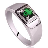 изумруд кольцо 925 серебряный размер оптовых-Родий покрытием мужские твердые 925 серебряное кольцо новый 5,5 мм имитация зеленый изумруд человек ювелирные изделия размер 6 до 13 R503