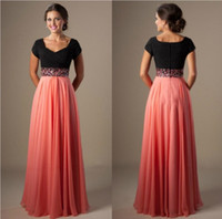 Wholesale Modest Cheap Prom Dresses - 2017 Cheap Long A-line Beading Chiffon Pleated Modest Prom Dress with Cap Sleeves
