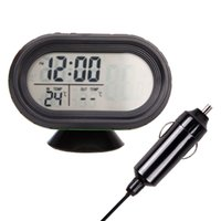 Wholesale Car Clock Thermometer Voltage - Wholesale- New 3 in 1 Auto Car Outside Temperature Sensor Digital Thermometer Voltage Meter LCD Monitor Clock