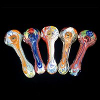 Venta al por mayor de tubos de vidrio de vidrio coloreado mini vidrio Bubbler enormes tubos de tabaco de fumar de vapor no Crack No Bubble Glass Spoon Water Pipe