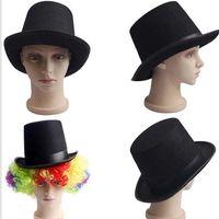 Wholesale Magician Costume Tuxedo - Black Satin Felt top hat magician gentleman adult 20'S costume tuxedo victorian cap Halloween Christmas party Fancy Dress Top Hats gifts