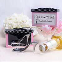 Wholesale Bridal Shower Shoes - Unique Creative High Heel Shoe Bottle Openers Bridal Shower Wine Set Wedding Favor And Gifts For Guests S201726
