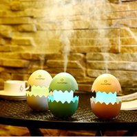 Wholesale Usb For Cartoon - USB Mini Egg Humidifier with Colorful LED Light Portable Egg Tumbler Aroma Diffuser Auto Shut-off Humidifier for Car Home Office KKA1890