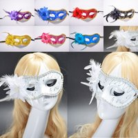 Wholesale Hot Sexy Women Cosplay - HOT Sexy Women Mask Halloween Venetian Eye Masquerade Masks with flower feather Christmas Cosplay Party Night Club Ball Eye Masks