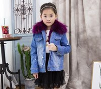 Wholesale Girls Peacoat - Kid Childrens Girls New Winter Thicken Girls Fur Denim Jeans Real Wool liner Peacoat Parka Luxury Warm Gift Real Fur Furry Warm 5Colors