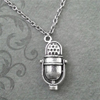 Wholesale Old Fashioned Necklaces - 12pcs lot Vintage Old Fashioned Radio Microphone Inspired Necklace In silver