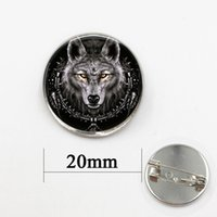 Wholesale Wholesale Cross Dressing China - Animal jewelry Vintage Wolf Brooches pins jewelry Christmas gift Dress Accessories Black Glass cabochon dome pin
