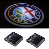 Wholesale Laser Car Logo Door Light - Wireless No Drill Type Car Logo Projector Light LED Laser Door Light For Alfa Romeo 159 156 147 166 Mito Giulietta Spider GT