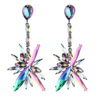 Wholesale Luxury Crystal Rainbow - Sexy Wedding Earrings Rainbow color Luxury Crystal Bohemian Long Earrings for Women Statement Dangle Earrings Maxi Jewelry