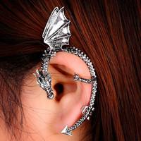 Wholesale Dragon Hook Earrings Punk - Gothic Punk Dragon Bite Ear Cuff Fashion Wrap Temptation Metal Clip Earring Halloween Easter Ear Hook Ear Cuff