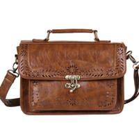 Wholesale Executive Bags - Wholesale-Women's Brown Vintage Leather Briefcase Luxury Women Document Briefcase Durable Executive Briefcase Small Lawyer Postman Bag