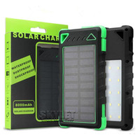 Wholesale External Backup Battery Charger Light - Waterproof Solar Power Bank Solar Charger LED Light Portable 8000mAh External Backup Battery Pack Solar Panel Charger with Retail Package