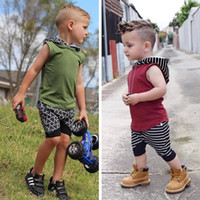 Wholesale Summer Hood Set - Clothing Sets new ins summer children's clothing hoods sleeveless suit Europe and the United States boys leisure suits 1129