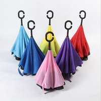 Car Inverted Umbrella Inside Out Reverse Regenschirme C Griff Self Stand Umbrella Paraguas Regenschirme Windproof Regen Regenschirm 8 Farben OOA2006