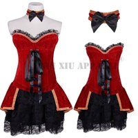 Wholesale Steel Bone Corset Dress - Sexy Corsets Bustiers Tops for women Waist Training Burlesque Corset Dress Pirate set Without Hat Steel Boned Waist Trainer Plus size C8320