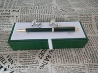 Wholesale Gift Set Cufflink - Luxury High quality Unique design rx pen stationery supplies Ballpoint Pen , cufflink , gift green box sets