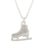 Wholesale Stainless Steel Pave Balls Wholesale - Ball Chain High quality Cute Plated 3D Ice skate Skater necklace pave crystals white Crystal Rhinestone Pendant Necklace