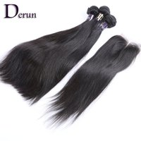 Wholesale Discount Virgin Hair - Limited time discount!Top Quality 7A Indian Hair Straight Human Hair Buy 3 Bundles Get 1 Free Lace Closure Free Shipping