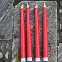 Wholesale Long Candle Red - Set of 4 Wedding and Dinner Flameless RED Long Wax Taper Candles, Operated By 2-aaa Batteries (Not Included)