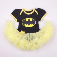 Wholesale Batman Costume For Baby - New baby clothes Superman Batman clothes long sleeve Lace Tutu Romper Dress for 0-12 Bebe First Birthday Costumes Infant clothes