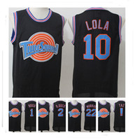 Wholesale cheap cartoon movies - Stitched Movie Space Jam Jersey Men Murray D Duck 1 Bugs LOLA Embroidered Sport Hot sale Lepew Cheap Cartoon Christmas Gift HOT Sale
