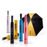 ingrosso bottiglie piegate-Bottiglia Umbrella Bottiglia di vino ombrelli 3 Ombrello pieghevole Stili creativi Ombrelloni di pioggia con scatola OOA2018
