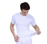 vücut heykeltıraş giysileri toptan satış-Yeni erkek dar kısa kollu vücut şekillendirici plastik giyim yumuşak basınç rahat nefes çabuk kuruyan spor