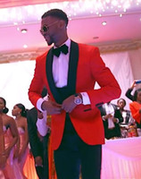 Wholesale Mens Red Wool Vest - Fashionable One Button Red Groom Tuxedos Shawl Lapel Groomsmen Best Man Mens Weddings Prom Suits (Jacket+Pants+Vest+Tie) NO:3355