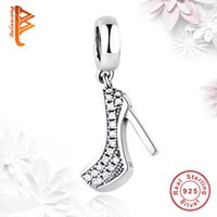 Wholesale cube shoes - BELAWANG 925 Sterling Silver Clear Cubic Zircon Charms Sparkling Shoe Stiletto Pendant Beads Fit Pandora Charm Bracelets&Necklaces Making