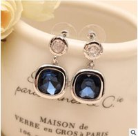 square blue diamond earrings - Personality square Austrian crystal earrings diamond encrusted jewels eardrop of free allergy